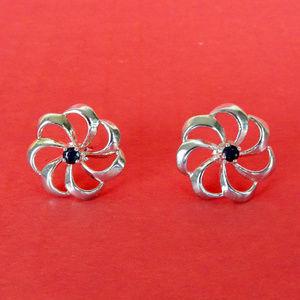 Sterling Silver Sapphire Flower Swirl Earrings New